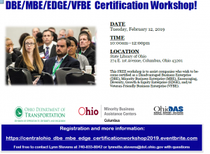 DBE/MBE/EDGE/VFBE  Certification Workshop! @ State Library of Ohio