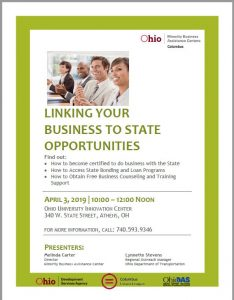 LINKING YOUR BUSINESS TO STATE OPPORTUNTIES @ OHIO UNIVERSITY INNOVATION CENTER