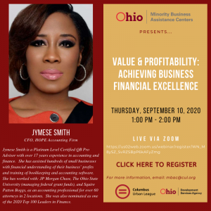 Value and Profitability: Achieving Business Financial Excellence with Jymese Smith @ Live via Zoom